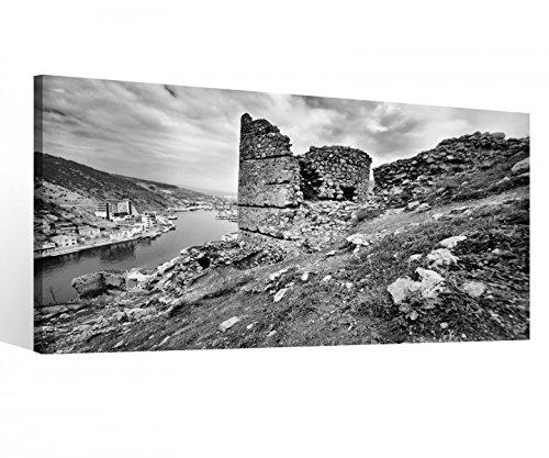 Leinwandbild 1Tlg Ruinen Burg Schloss Irland schwarz weiss Leinwand Bild Bilder Leinwandbilder Druck Holz gerahmt 9X313, 1 Tlg BxH:80x40cm - Leinwand Burg