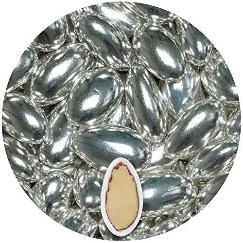 EinsSein 0,5kg Hochzeitsmandeln Nobile silber metalic glanz Mandeln Hochzeit Zuckermandeln Bonboniere Confetti Badem sekeri Gastgeschenk Zucker Mandeln Taufmandeln Candy Bar Süssigkeiten Schokolinsen