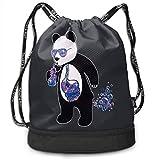 MLNHY Rioy Society Cool Panda Galaxy Multifunctiona Drawstring Sport Backpack Foldable Sackpack