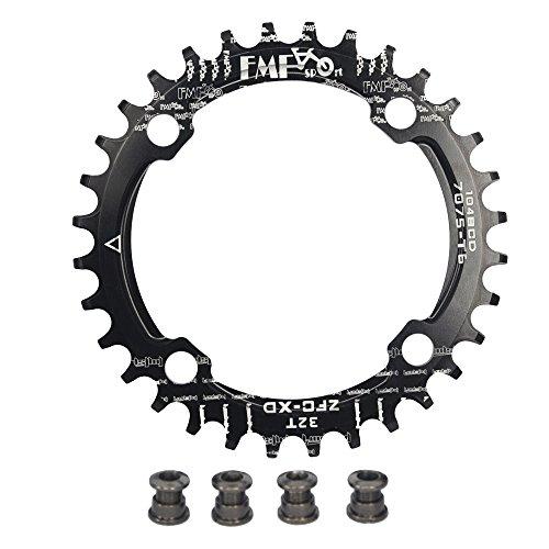 upanbike Bike schmal breit Kettenblatt 104BCD Runde Form Single Kette Ring 32Z 34T 36T Pin, schwarz