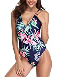 Charmo Damen Einteiler Bademode Blumen & Solid Badeanzug Lace up am Rücken Sexy Bademode Sommer Swimsuit Solid Schwarz XXL