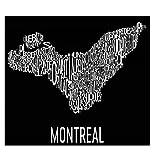 Modern Map Art Plan de quartier de Montréal typographie Estampe, ville affiche art 12 «X 18»