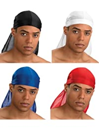 PURECITY© Lot de 4 Bandana US Durag Noir + Blanc + Rouge + Bleu Electrique - Gangsta Rap Hip Hop West Coast - USA Du Rag - Airsoft - Paintball - Hip hop - Moto - Biker - Outdoor