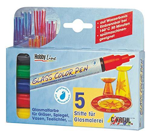 Kreul 42650 - Glass Color Pen, transparenter Glasmalstift auf Wasserbasis, brillante und lichtbeständige Farbe, Strichstärke ca. 2 - 4 mm, 4 Stifte in gelb, rot, blau und grün und Konturstift schwarz