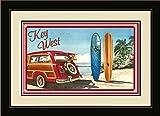 Northwest Art Mall ed-5741fgdm Bgr Key West Florida Woodie Auto & Surfbretter, gerahmt Wand Kunst von Künstlerin Evelyn Jenkins Drew, 40,6x 55,9cm