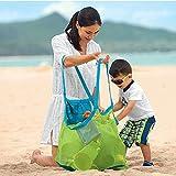 Angel ZYJ Strand Aufbewahrung Tasche Netz Sandspiel Netztasche für Sandspielzeug, Extra Große Familie Mesh Beach Bag Tote (Grün-groß)