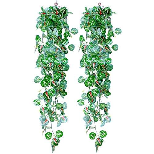 Youthny artificielle Vigne Lierre Vert à suspendre Mur végétal Home balcon décoratif panier de fleurs de plantes green apple 2 pcs