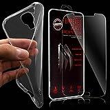 XAiOX® 2 in 1 Set für Samsung Galaxy S4 Echt Glas Panzerglas + TPU Schutzhülle in klar transparent