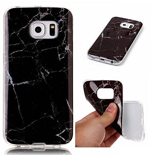 Cozy Hut Für Samsung Galaxy S6 Edge Handyhülle mit Marmor / Marble Design(schwarz / weiß) | Handytasche | | Schale | | Hülle | | Case | Handy-etui | TPU-Bumper | Soft Case | Schutzhülle Cover für den optimalen Schutz ihres Samsung Galaxy S6 Edge (5,1 Zoll) - Schwarzer Marmor