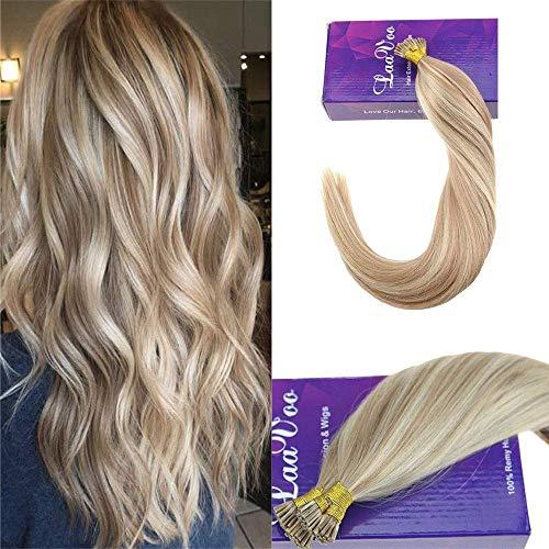 Laavoo 14 pollice highlights human hair extensions stick tip brazilian secrets hair pro keratin i-tips biondo cenere a candeggina bionda 50g 50s