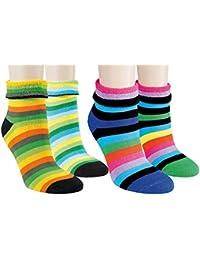 Vitasox Kinder Frottee Socken Baumwolle Frotteesocken Kindersocken Baumwollsocken Thermosocken mit Umschlag bunt Ringelsocken 4er Pack