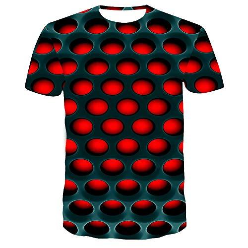 Lässige Rugby-shirts (Buntes Quadrat 3DT Shirt Herren Sommer Lässig Atmungsaktiv Kurzarm TX-8553 XL)