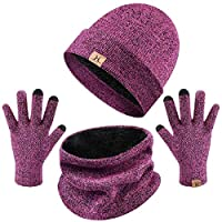Tuopuda Men Women Hat Scarves Gloves Set Thermal Winter Warm Knitted Beanie Hat Neck Warmer and Touchscreen Gloves (hot pink)