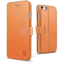 Funda iPhone 8, SHIELDON [Garantía de por Vida] Funda Piel para iPhone 7/8, Funda iPhone 7 con Tapa [Cuero Genuino][3 Ranuras para Tarjetas de Crédito][Soporte Plegable] Funda Libro para iPhone 7/8 - Marrón