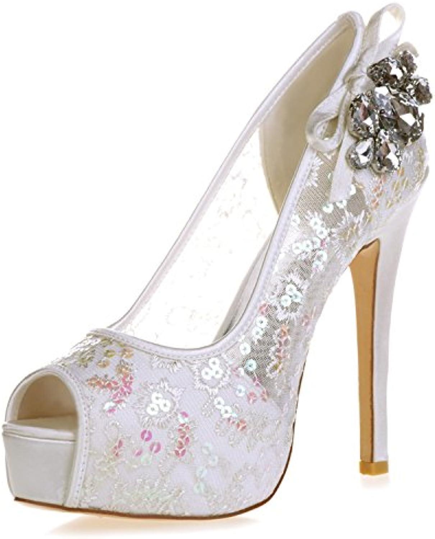 621526b2b5be2e Elobaby Femmes Chaussures De Mariage Dentelle Blanche Ivoire Ronde Ronde  Ronde Robe en Cristal Party Peep Toe / 35-42 Taille...B07CTL2KHRParent | De  Faire ...