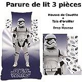 Star Wars - Juego de cama de 3 piezas, 100% algodón, funda nórdica (140 x 200 cm) + funda de almohada (63 x 63 cm) + sábana bajera (90 x 190 cm)