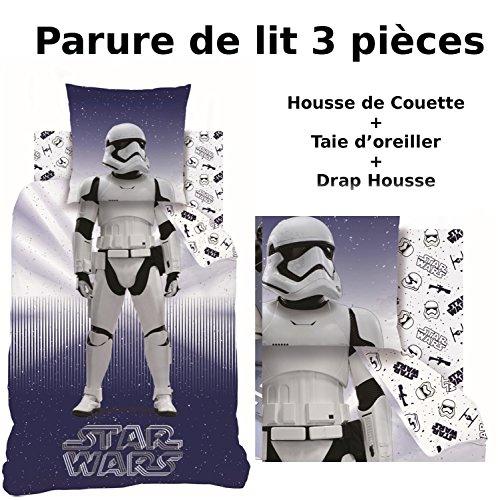 STAR WARS – Parure de lit (3pcs) 100% Coton – Housse de Couette (140×200) + Taie d'Oreiller (63×63) + Drap housse…
