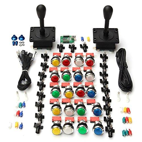 C-FUNN Arcade DIY Set 2 Happ Style Joysticks 20 LED Tasten 2 USB-Laufwerk Codes (Harry Potter Videospiel Pc)
