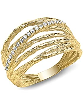Carissima Gold Damen-Ring Diamond Cut 5 Band Crossover - Size L 375 Gelbgold