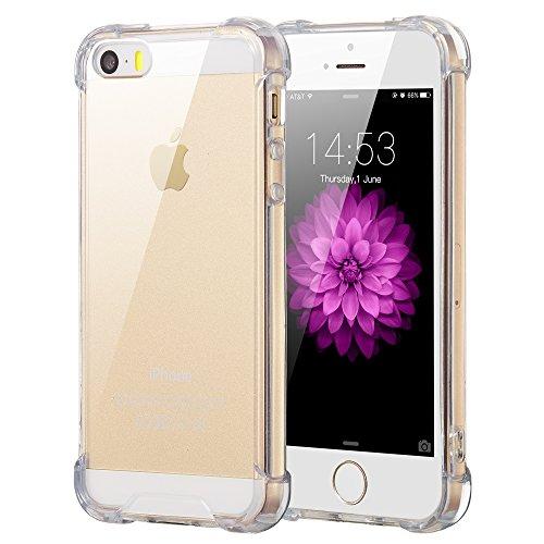 ELZO Hülle Kompatibel für iPhone 5/5S/SE,[Kristall] Klar Ultra dünn Handy Schutzhülle/Abdeckung/Hülse/Schale, Durchsichtige Silikon TPU/Transparent/Schützend/Weich/Schock Absorption/Kratzfest