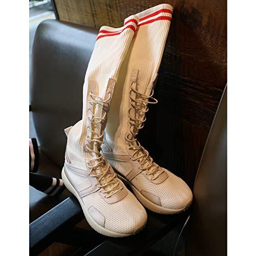 b9b57da4e23001 Shukun Botines Long Tube Socks Shoes Women's Breathable Stretch Boots  Casual High Bandage Flat Sports Socks