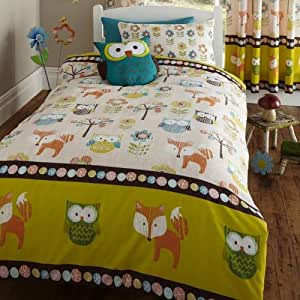 Bedmaker Woodland Creatures print Duvet Cover with 2 Pillow Cases, Double