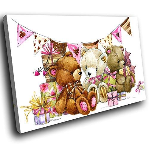 wanddruck bunte Wandkunst - Teddybär Partei Skizze - moderne Tier Wohnzimmer Schlafzimmer Hauptdekor Innenarchitektur (120X80CM) (Große Teddybären Billig)