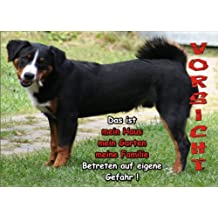 INDIGOS UG - Türschild FunSchild - SE124 DIN A5 ACHTUNG Hund APPENZELLER SENNENHUND - für Käfig, Zwinger, Haustier, Tür, Tier, Aquarium - aus hochwertigem Alu-Dibond beschriftet sehr stabil