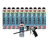Soudafoam B2 Pistolenschaum Montageschaum als Set mit Pistole + Reiniger 10 Stück Profi-Schaumpistole teflonbeschichtet