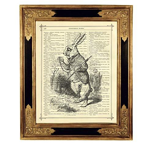 Alice im Wunderland weißes Kaninchen Taschenuhr Poster Kunstdruck auf antiker Buchseite Kinderzimmer Deko Geschenk SW Bild ungerahmt