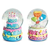 HC-Handel 916050 Polyresin Glitterkugel Schneekugel Glitter Kugel Glitzer Happy Birthday