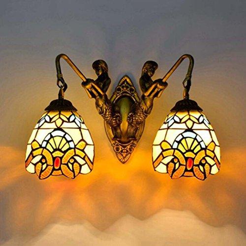 Bronze-feder-wand-beleuchtung (Tiffany-Art-Wandlampe, europäische kreative Buntglas-Kunst-Wand-Lampe, barocke Meerjungfrau-Entwurfs-Wandleuchten für Wohnzimmer-Schlafzimmer-Nachtbar-Gasthaus E27 ohne Lichtquelle yd&h (Farbe : B))