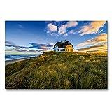 Premium Textil-Leinwand 90 x 60 cm Quer-Format Haus am Meer   Wandbild, HD-Bild auf Keilrahmen, Fertigbild auf hochwertigem Vlies, Leinwanddruck von strandmann@online.de
