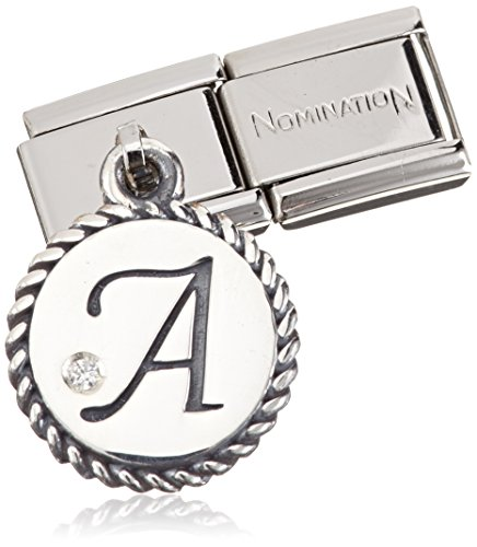 """Nomination Women's Charm Letter """"A"""" 925 Silver Oxidized Stainless Steel-White Zirconia - 031715 / 01 Test"""