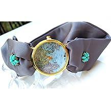Orologio da polso donna quadrante del mondo Bracciale di seta ornato color melanzana