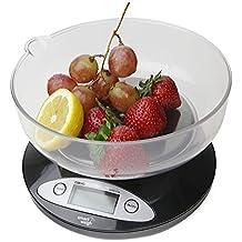 Smart Weigh CBS5KG Báscula Digital para Cocina con tazón removible de 11 lbs / 5000g x 1g - Negra