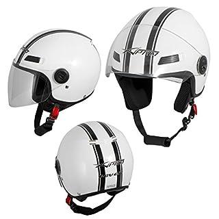 A-Pro Motorradhelm Motorrad Roller Offenes Jet Helm Viser ECE 22 05 Weiss L