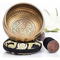 Silent Mind ~ Cuenco tibetano Mantra de bronce ~ Ideal para meditación, Relajación, estrés y ansiedad alivio, Sanación de Chakra, Yoga, Zen ~ Obsequio espiritual perfecto