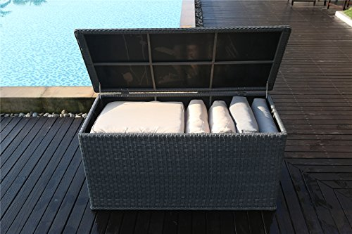 Bon Yakoe 21219 147x67x70 Cm Waterproof Rattan Garden Storage Box Foldable  Cushion ...