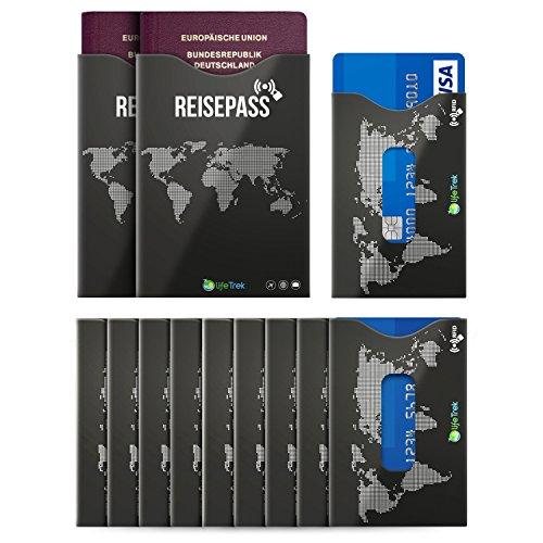 RFID Blocker Schutzhüllen TÜV zertifiziert mit Sichtfenster für Karten und Reisepass (10+2 Set) beste Sicherheit für Kreditkarten, Bank Hotel und EC-Karten Personalausweis vor Betrug (Deutsch)