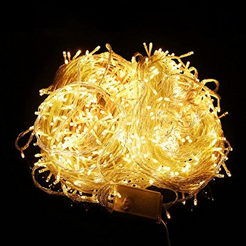 LED Lichterkette 20 Meter 8 Modi 200 LEDs verlängerbar Festbeleuchtung innen aussen Fensterdekoration 14 Watt gelb