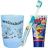 wellsamed wellsakids Zahnputzset 3-teilig für Kinder Set JUNGEN blau
