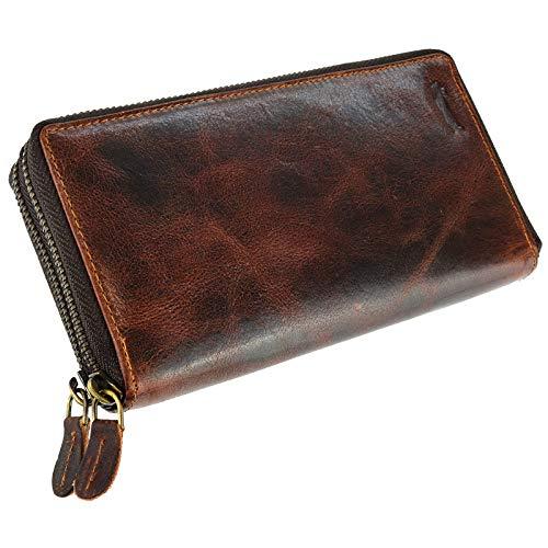Ven Tomy Geldbörse Damen Herren groß viele Fächer Leder Portemonnaie Geldbörsen Portmonee braun RFID Blocker (Dunkelbraun Glattleder)