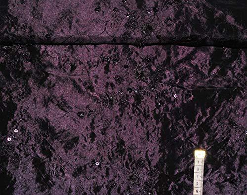 1 m * 1,40 m - Stoff - TAFT -  lila / violett - mit Pailletten & Perlen Stickerei  - Blumen & Blüten - Blumenranken - Taftstoff - edel schimmernd changieren.. (Taft Perlen)