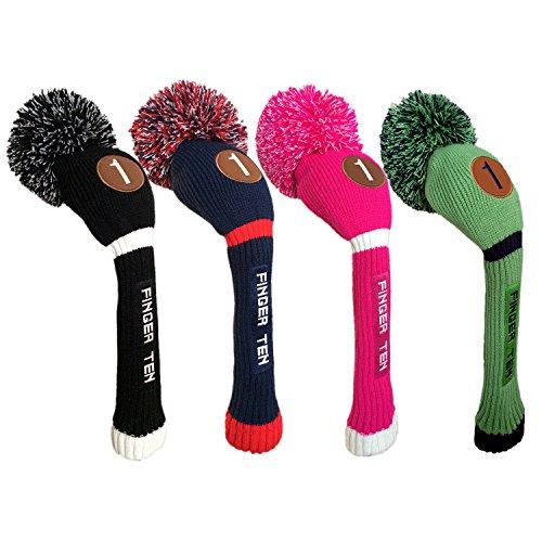 Finger Zehn Pom Pom Golf Schlägerhaube Club aus Holz, für Driver Fairway Hybrid, Herren Frauen Farbe Schwarz Blau Hot Pink Value Pack, grün/Blau, 3 Pack(Driver+Fairway+Hybrid)