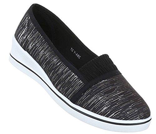 Damen Halbschuhe Schuhe Slipper Loafer Mokassins Flats Slip On Ballerinas Schwarz Beige Weiß 36 37 38 39 40 41 Schwarz