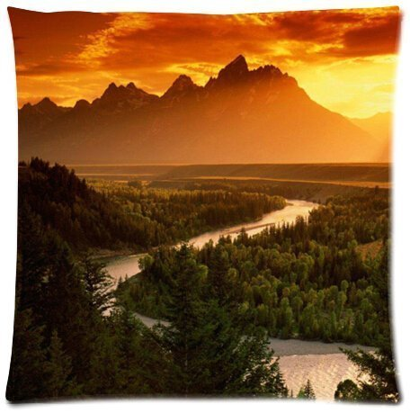 B Lyster shop Ansel Adams The Tetons and the Snake River Sunset #2697W Cotton & Polyester Soft Zippered Cushion Throw Case Pillow Case Cover -