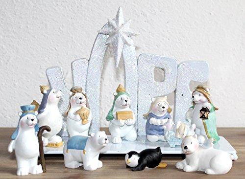 Weihnachtskrippe Tischkrippe Krippe Set inkl. 11 Krippenfiguren Krippenszene IK
