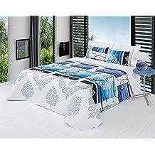 ForenTex - Colcha Boutí, (XQ-Naomi1), Reversible, color Azul, cama 150 cm, 250 x 260 cm, +2 fundas cojín 40 x 60 cm, Termo Estampada, 220 gr/m2 (relleno ligero 80gr/m2), barata, excepcional relación calidad precio. Por cada 2 colchas o mantas paga solo un envío (o colcha y manta), descuento equivalente antes de finalizar la compra.
