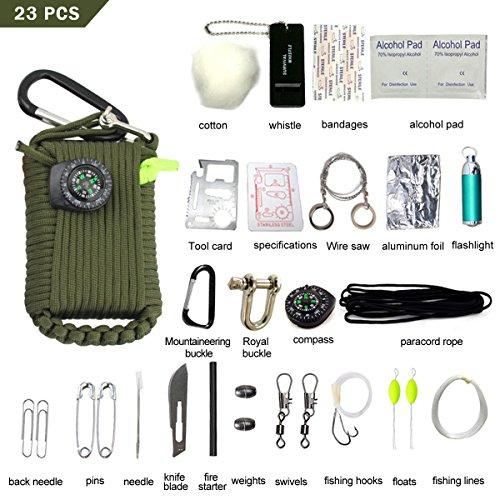 LOTRIP Paracord Survival Kit mit 23 Zubehör Multifunktionaler Paracord Seil Multi-Funktions Outdoor Survival Kit, Überlebensset für Camping, Klettern oder andere Outdooraktivitäten (Grün)
